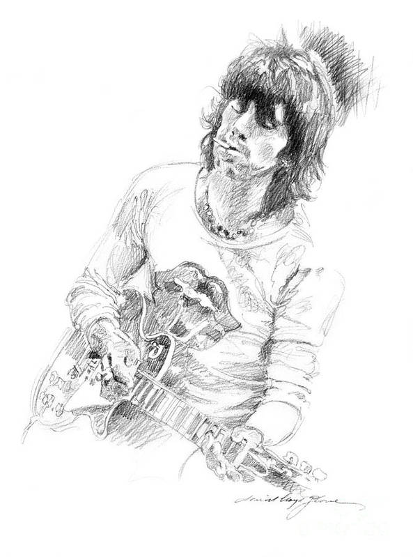 Keith Richards Print featuring the drawing Keith Richards Exile by David Lloyd Glover
