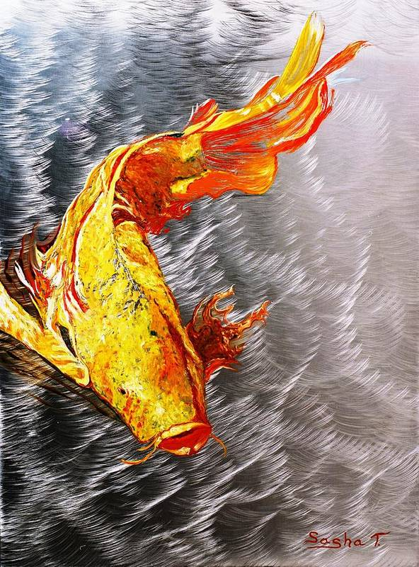 Koi Fish Metal Art Oil Painting Art Print featuring the painting Koi Fish Aluminum Print, Unique Gift For Any Home Or Office. 'the Silver Koi'. by Sasha Toporovsky