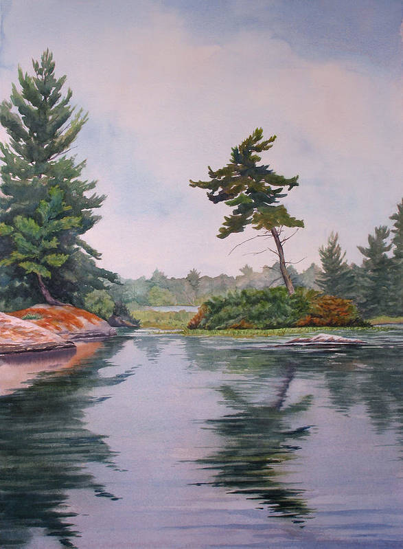 Lake Art Print featuring the painting Lake Reflection by Debbie Homewood