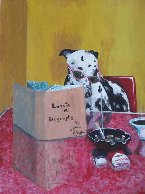 Dalmation Art Print featuring the painting Lassie A Biography by Gene Ritchhart