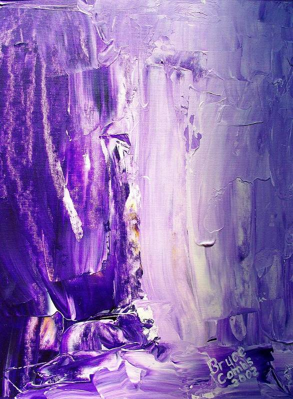 Lavender Art Print featuring the painting Lavender Cascades In The Purple Mountains by Bruce Combs - REACH BEYOND