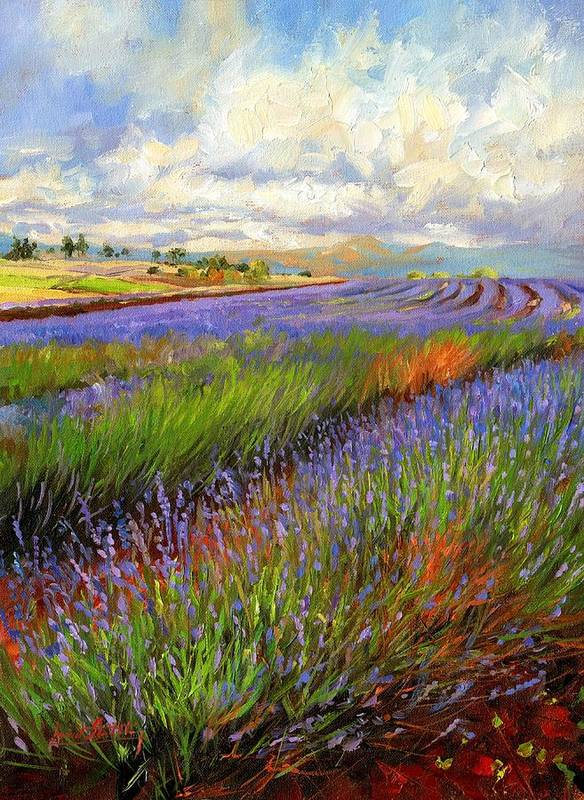 Lavender Art Print featuring the painting Lavender Field by David Stribbling