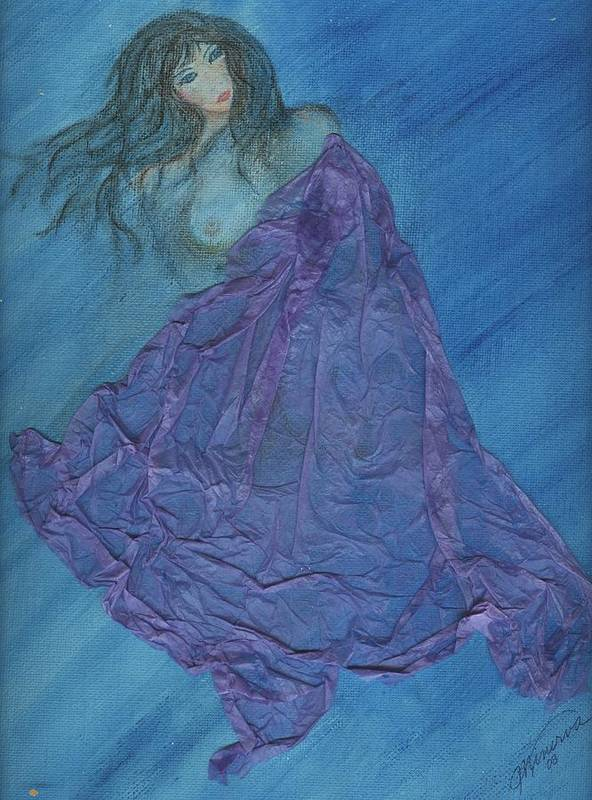 Mixed Media Art Print featuring the painting Lavender Passion by Cathy Minerva