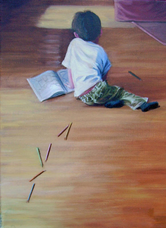 Boy Art Print featuring the painting Le Petit Artiste by Tahirih Goffic