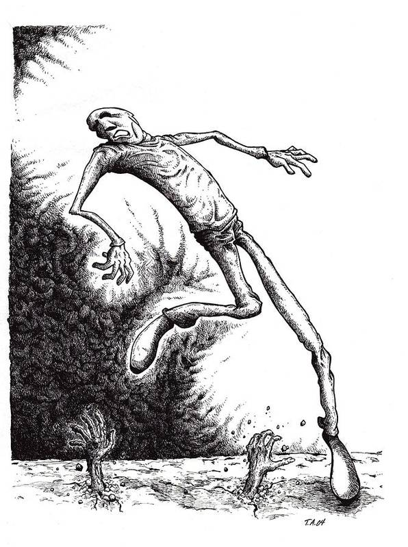 Black And White Art Print featuring the drawing Leap by Tobey Anderson