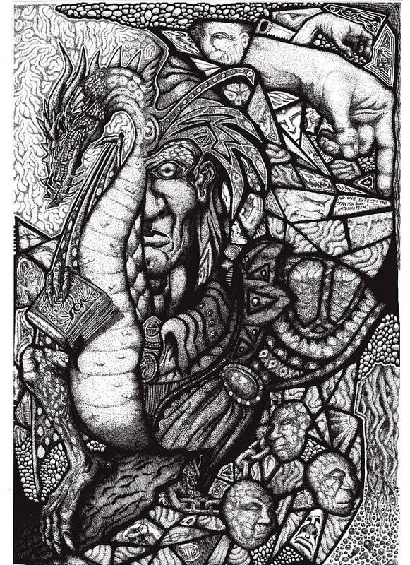Pen And Ink Art Print featuring the drawing Legend by Tobey Anderson