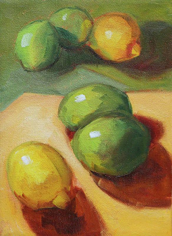 Lemon Lime Still Life Art Print featuring the painting Lemon Lime Still Life by Nancy Merkle