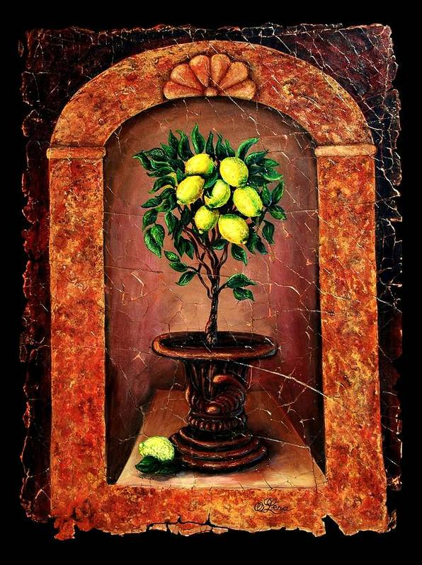 Fresco Antique Art Print featuring the painting Lemon Tree by OLena Art Brand