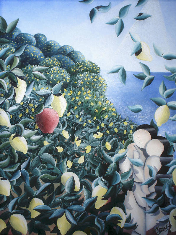 Landscape Art Print featuring the painting Lemon Trees by Massimiliano Stanco