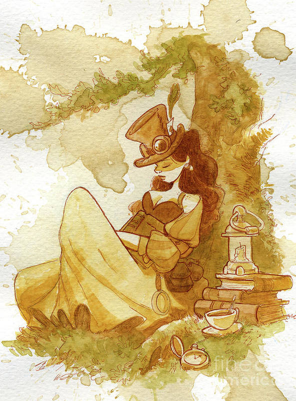 Steampunk Art Print featuring the painting Librarian by Brian Kesinger