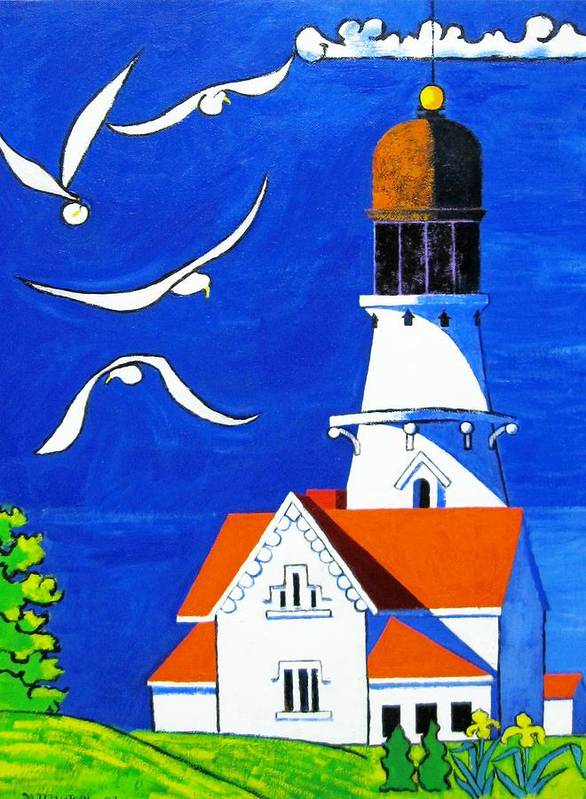 Lighthouse Art Print featuring the painting Lighthouse With Seagull by Nicholas Martori