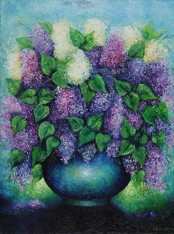 Flowers Art Print featuring the painting Lilacs No 1. by Evgenia Davidov