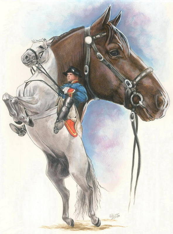 Spanish Riding School Art Print featuring the mixed media Lippizaner by Barbara Keith