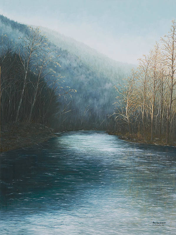 Buffalo River Paintings Print featuring the painting Little Buffalo River by Mary Ann King