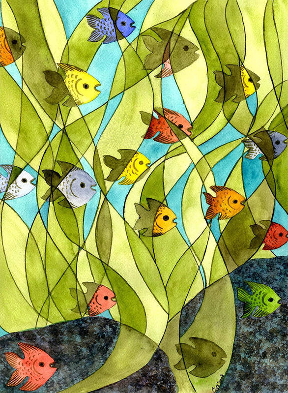 Fish Art Print featuring the painting Little Fish Big Pond by Catherine G McElroy