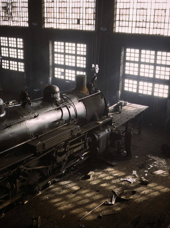 Locomotive Art Print featuring the photograph Locomotive Repair Shop - December 1942 by War Is Hell Store
