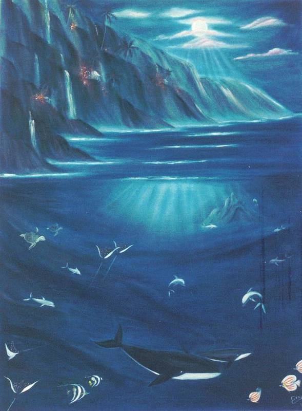 Seascape Art Print featuring the painting Loihi Rising by Dina Holland