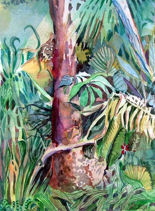 Jungle Art Print featuring the painting Lone Tree by Mindy Newman