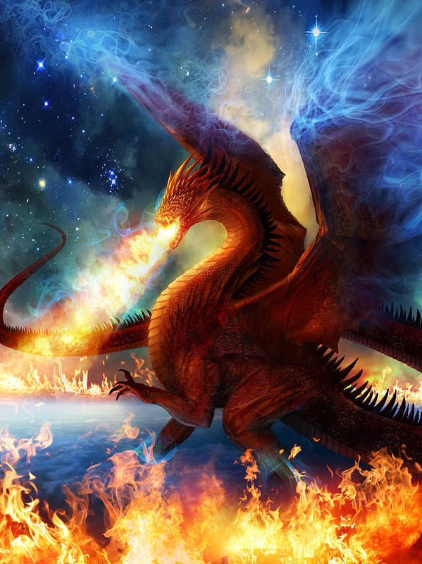 Dragon Art Print featuring the painting Lord Of The Celestial Dragons by Philip Straub