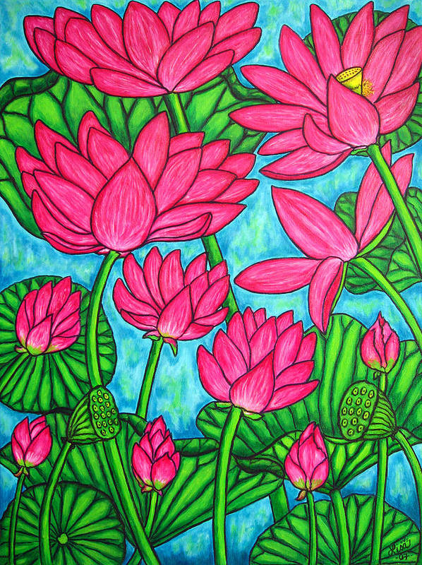 Art Print featuring the painting Lotus Bliss by Lisa Lorenz