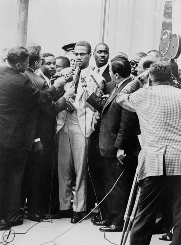 History Art Print featuring the photograph Malcolm X Being Interviewed by Everett