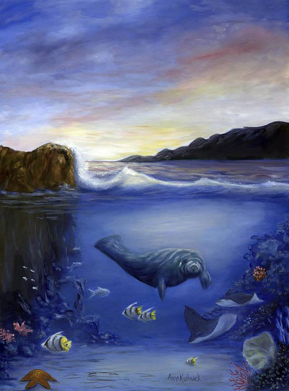 Seaworld Art Print featuring the painting Manatee by Anne Kushnick
