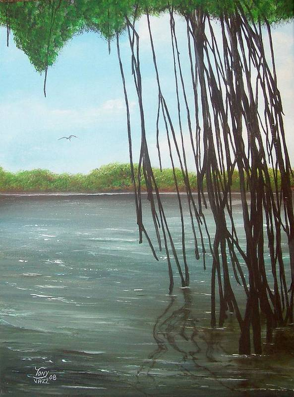 Seascapes Art Print featuring the painting Mangroves by Tony Rodriguez