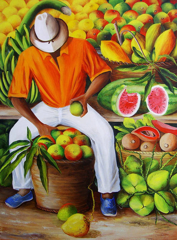 Caribbean Art Print featuring the painting Manuel The Caribbean Fruit Vendor by Dominica Alcantara