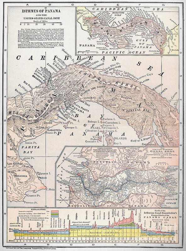 1907 Art Print featuring the photograph Map: Panama, 1907 by Granger