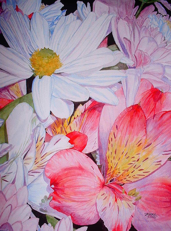 Garden Art Print featuring the painting Market Flowers - Watercolor by Donna Hanna