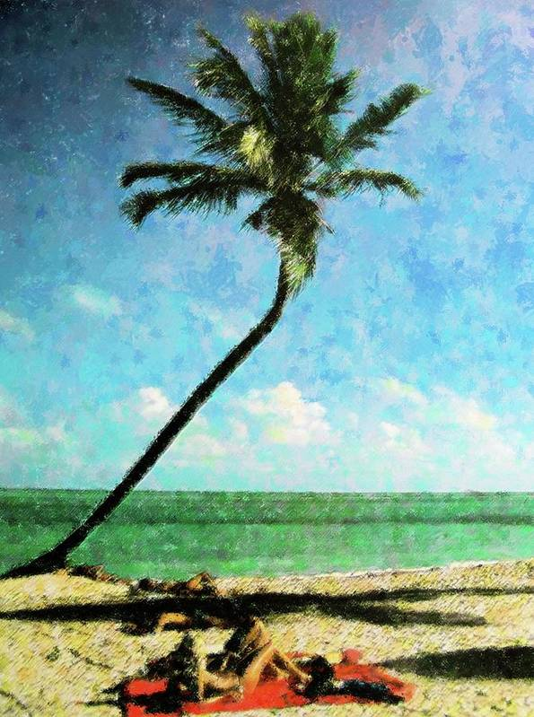 Vintage Art Print featuring the mixed media Miami Beach Sunbathers by Florene Welebny