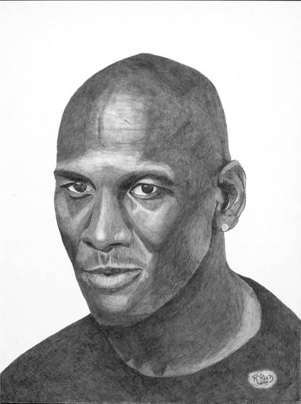 Michael Jordan Art Print featuring the drawing Michael Jordan by Randy Reed