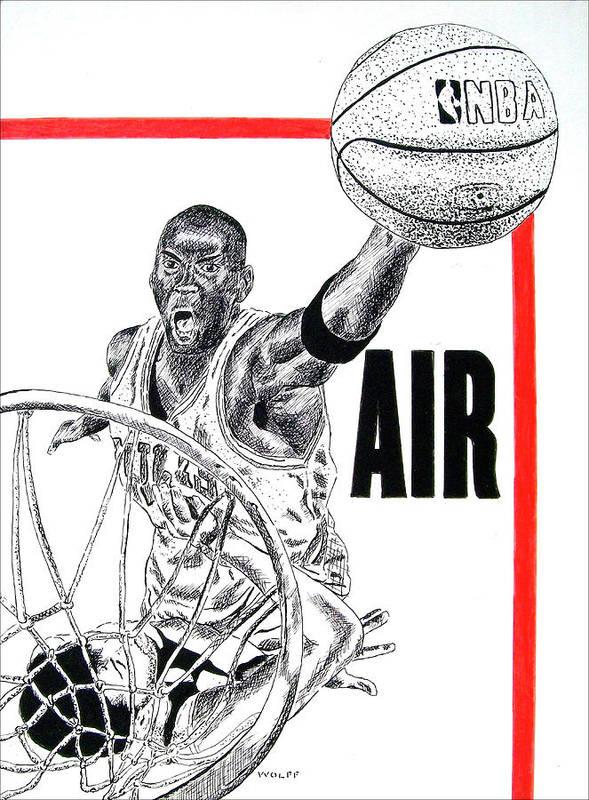 Michael Jordan Art Print featuring the drawing Michael Jordan by Vincent Wolff