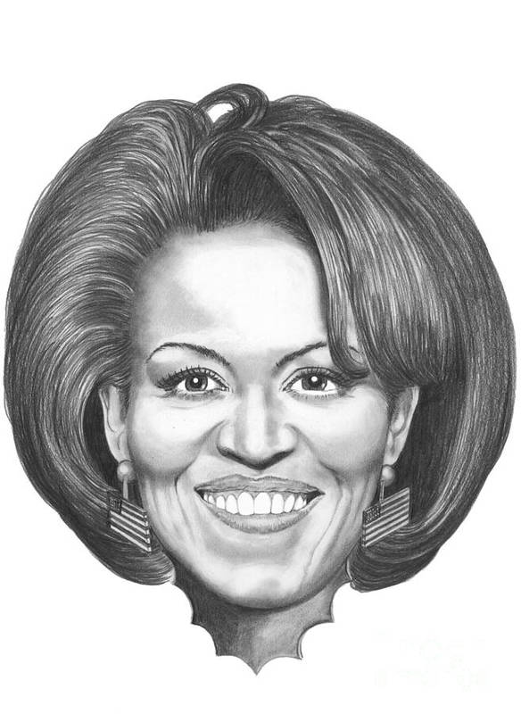 Drawing Art Print featuring the drawing Michelle Obama by Murphy Elliott