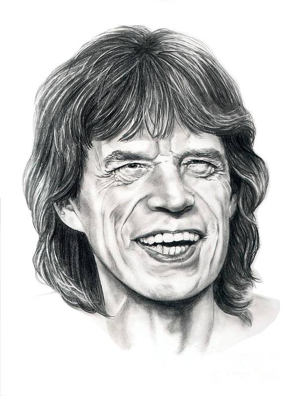 Mick Jagger Art Print featuring the drawing Mick Jagger by Murphy Elliott