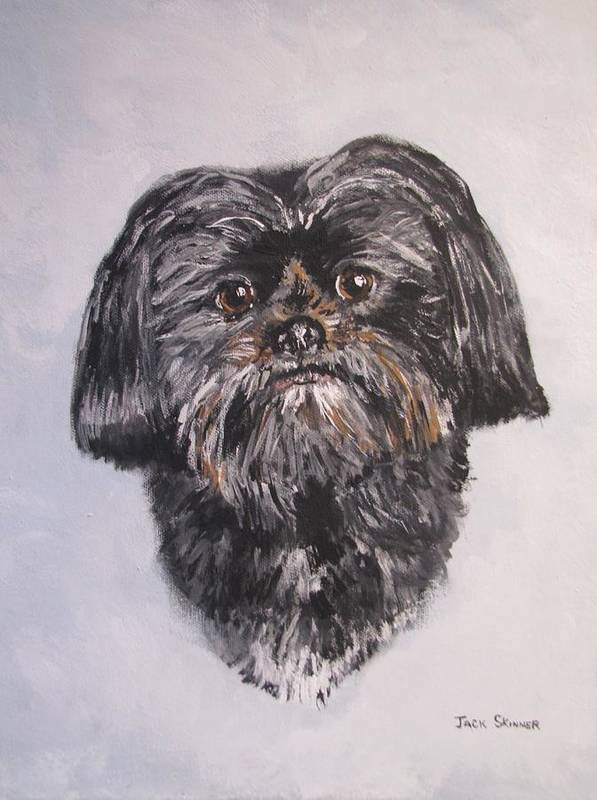 Dog Print featuring the painting Mikey by Jack Skinner