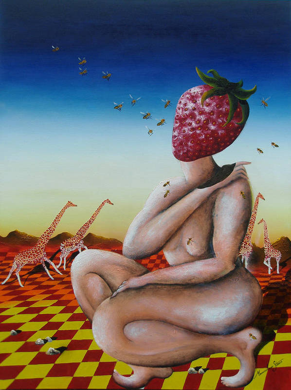 Strawberry Art Print featuring the painting Miss Fragaria by Massimiliano Stanco