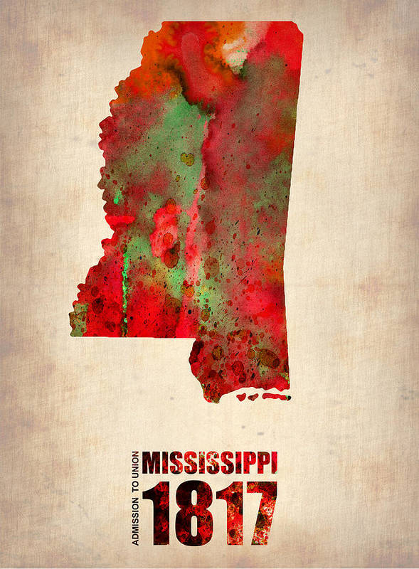 Mississippi Art Print featuring the digital art Mississippi Watercolor Map by Naxart Studio