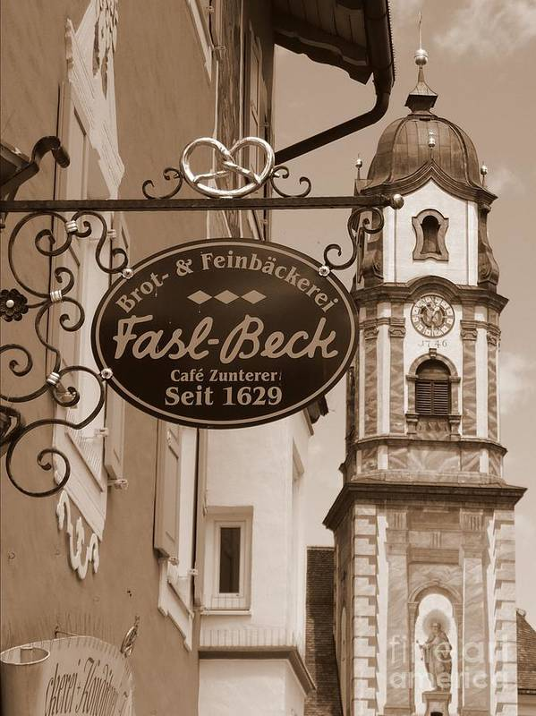 Mittenwald Art Print featuring the photograph Mittenwald Cafe Sign In Sepia by Carol Groenen