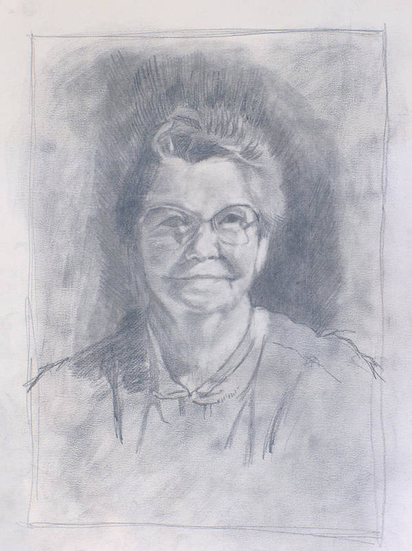 Mom Art Print featuring the drawing Mom Study by Robert Bissett