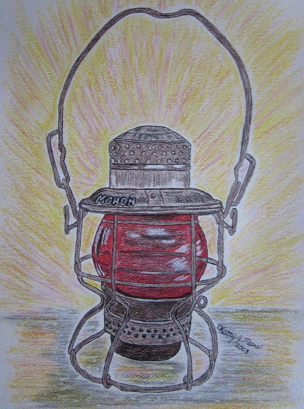 Monon Art Print featuring the painting Monon Red Globe Railroad Lantern by Kathy Marrs Chandler