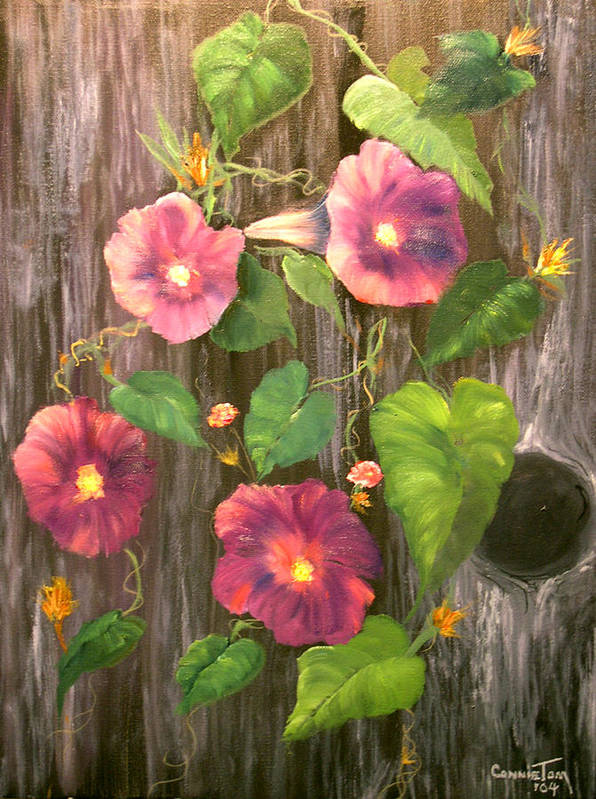 Connie Tom Art Print featuring the painting Morning Glories by Connie Tom