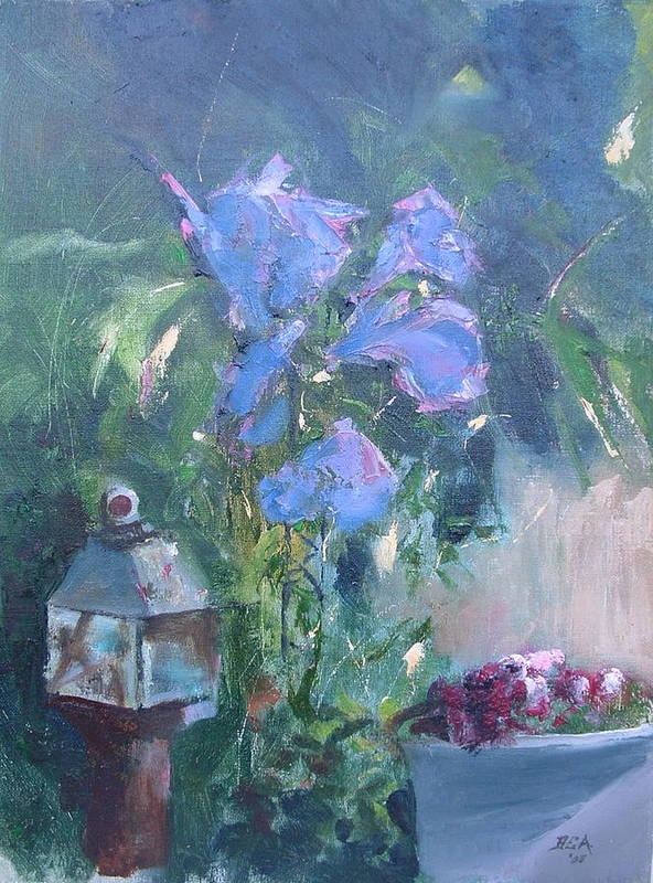 Flowers. Garden Art Print featuring the painting Morning Glory by Bryan Alexander