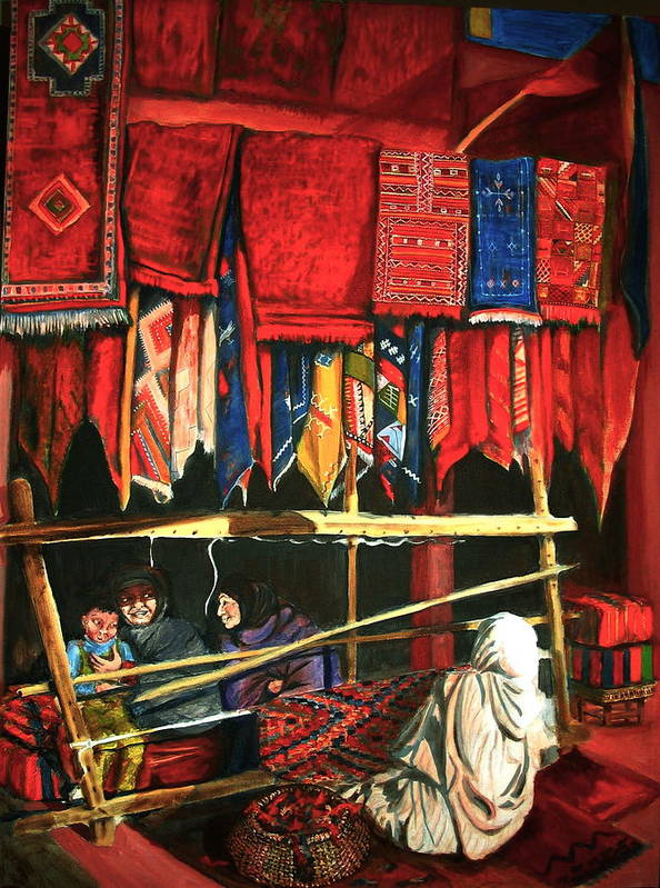 Morocco Art Print featuring the painting Moroccan Rug Weavers by Yvonne Ayoub