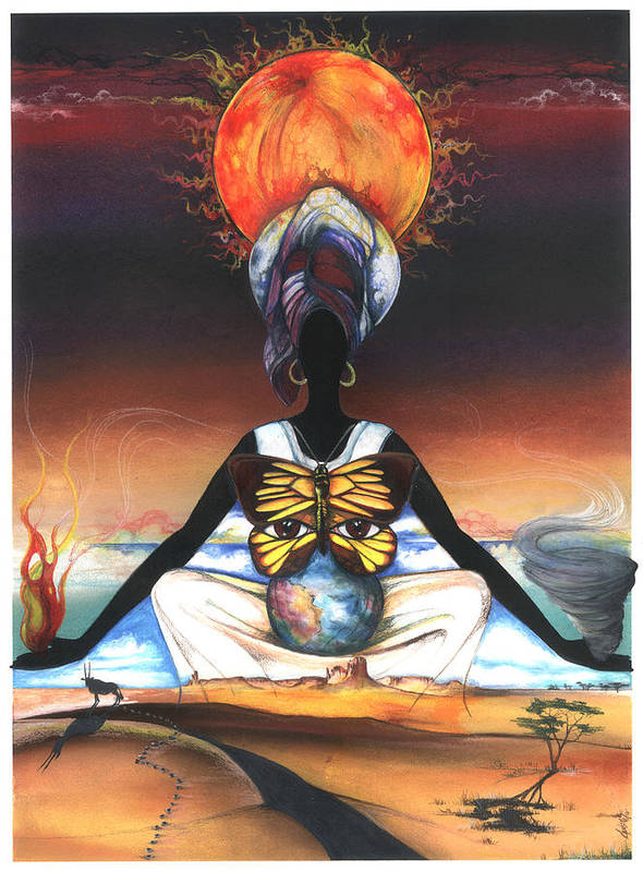 Earth Art Print featuring the mixed media Mother Nature II by Anthony Burks Sr