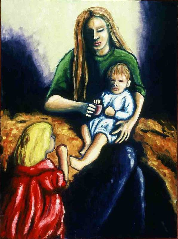 Mother With Children Art Print featuring the painting Mother With Children by Helen O Hara
