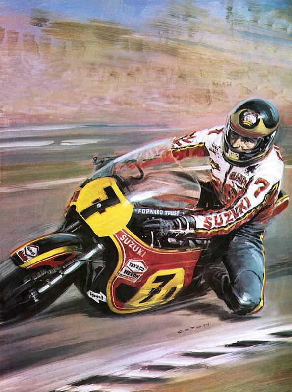 Motorcycle Racing; Motor Cycle; Corner; Cornering; Speed; Spectators; Race; Suziki; Helmet; Sport Art Print featuring the painting Motorcycle Racing by Graham Coton