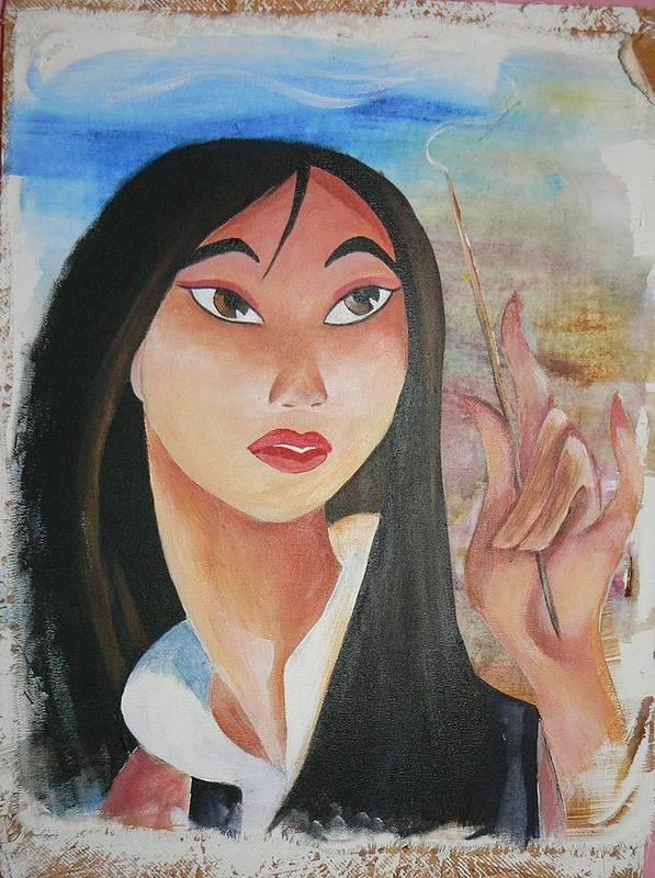 Disney Art Print featuring the painting Mulan by Latonja Davis-Benson