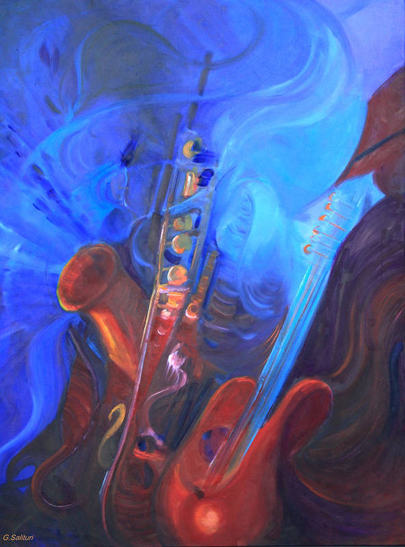 Abstract Art Print featuring the painting Music For Saxy by Gail Salitui