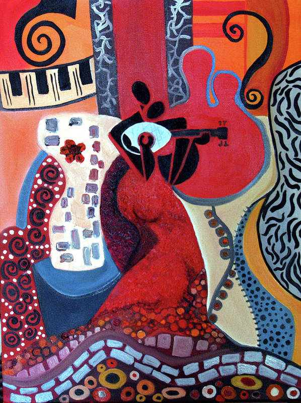 Musical Instruments Figurative Cubist Abstract Print featuring the painting Music Is Love by Niki Sands